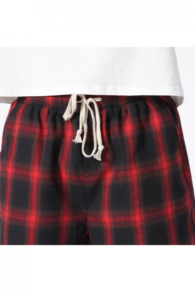 Men's Summer Trendy Plaid Pattern Drawstring Waist Casual Loose Sports Shorts