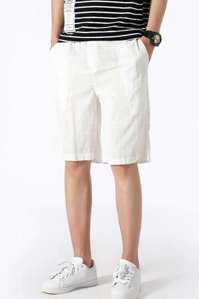 Men's Summer Trendy Simple Plain Casual Beach Shorts Relaxed Linen Shorts