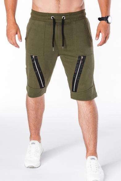 Men's Summer Trendy Simple Plain Zip Embellished Drawstring Waist Casual Cotton Sweat Shorts