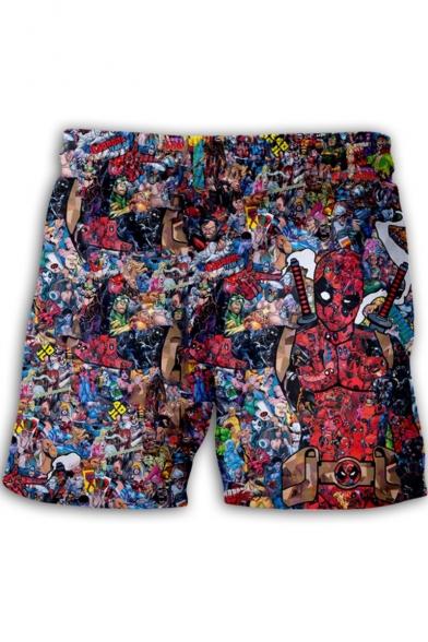 Mens Funny Comic Figure Print Drawstring Waist Loose Fit Beach Shorts
