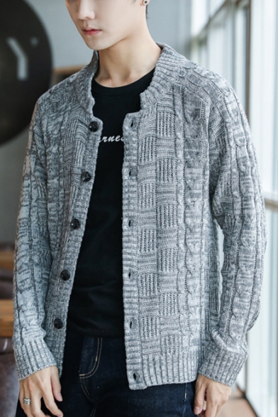 Mens New Trendy Simple Plain Long Sleeve Button Front Fitted Cable Knit Cardigan