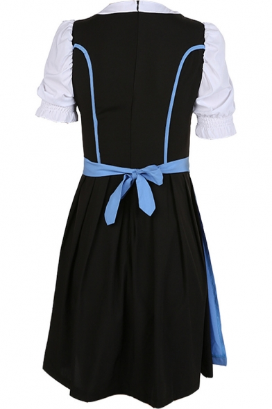 Popular Comic Maid Cosplay Costume Square Neck Puff Sleeve Lace-Up Front Bow-Tied Waist Midi Flared Dress