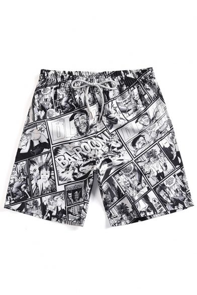 Popular Fashion Comic Figure Letter Printed Drawstring Waist Dry-Fit Black Casual Relaxed Shorts Swim Trunks
