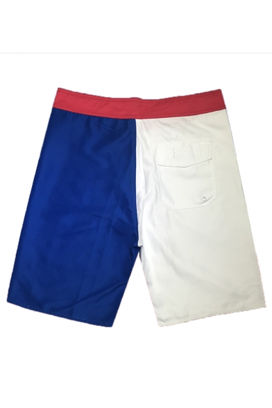 Simple Fashion Red and Blue Color Block Letter Print Quick Dry Drawstring Beach Surfing Shorts Swim Trunks