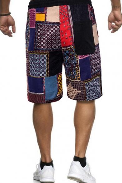 Stylish Colorblocked Geometric Pattern Casual Drawstring Beach Shorts Swim Trunk for Men