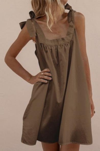 Summer Fashion Bow-Tied Strap Sleeveless Simple Plain Mini Cotton Swing Dress