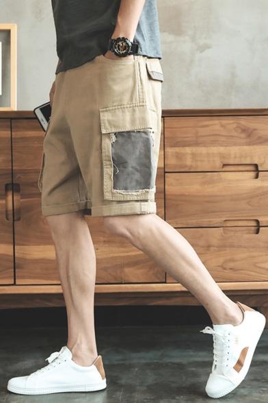 Summer Fashion Colorblock Flap Pocket Side Elastic Waist Casual Cargo Shorts
