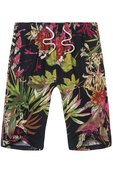 Summer Hawaii Tropical Printed Drawstring Waist Men's Beach Shorts Swim Trunks