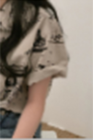 Summer Hot Fashion Cartoon Print Button Down Short Sleeve Casual Loose Shirt
