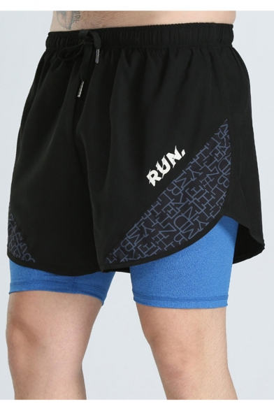 Summer New Fashion Letter RUN Camouflage Printed Drawstring Waist Fake Two Pieces Anti-light Running Shorts