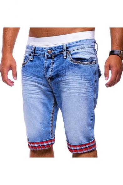Summer New Fashion Plaid Pattern Rolled Cuffs Blue Ripped Denim Shorts for Men