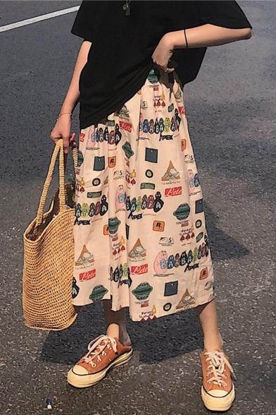 Summer Stylish Cartoon Print Holiday A-Line Midi Skirt for Women, LM548181