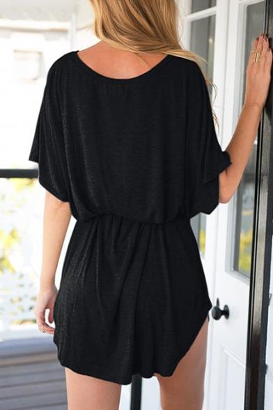Summer Stylish Simple Plain Round Neck Batwing Sleeve Tied Waist Mini T-Shirt Dress