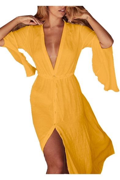 Summer Trendy Sexy Plunging V-Neck Long Sleeve Button Down Drawstring Waist Split Front Maxi Shirt Dress