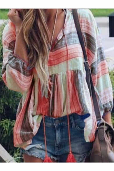 Summer Womens Fashion Color Block Striped Print V-Neck Long Sleeve Casual Loose Blouse