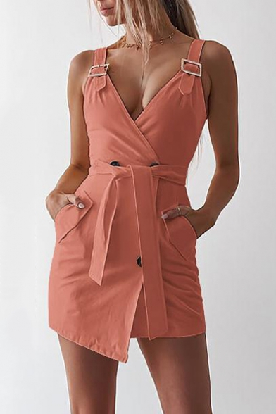 Trendy Adjustable Straps Sleeveless Double-Breasted Tied Waist Mini Sheath Dress
