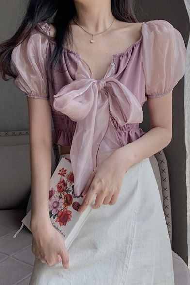 Trendy Plain Bubble Sleeve Bow Knotted Shirred Chiffon Lace Sweet Cute Blouse