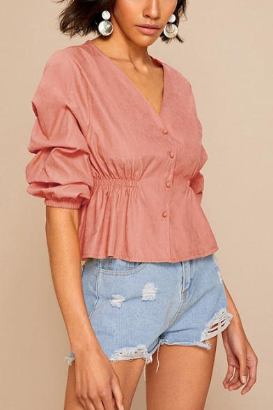 Womens Fancy Vintage Puff Sleeve V-Neck Elastic Waist Button Down Blouse Shirt