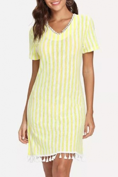 Womens Fancy Yellow Stripe Print V-Neck Short Sleeve Tassel Hem Mini Sheath Dress