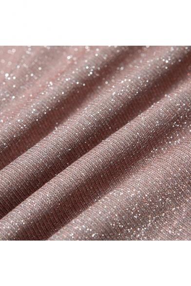 Womens Hot Fashion One Shoulder Shrug Long Sleeve Mini Bodycon Silver Sequined Club Dress