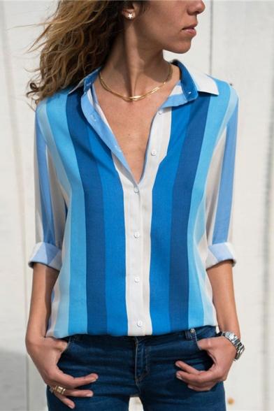 Womens Hot Popular Vertical Stripe Print Long Sleeve Chiffon Button Shirt