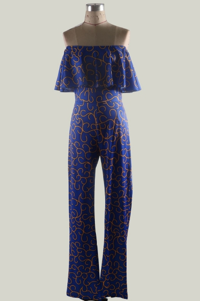 Womens Hot Stylish Elegant Blue Off Shoulder Ruffle Trim Tribal Printed Sexy Jumpsuits