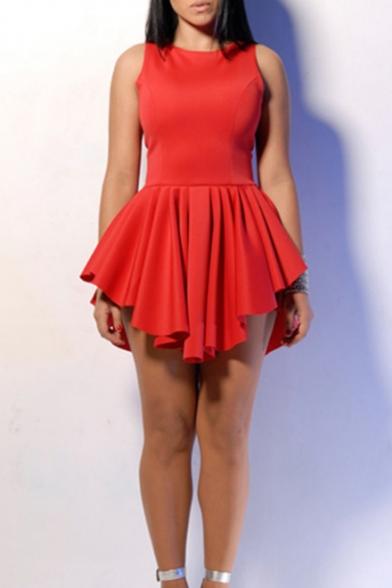 Womens Simple Plain Round Neck Sleeveless Asymmetrical Hem Mini A-Line Pleated Dress