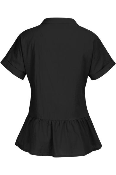 Womens Stylish Simple Plain Short Sleeve One Pocket Button Down Shirt