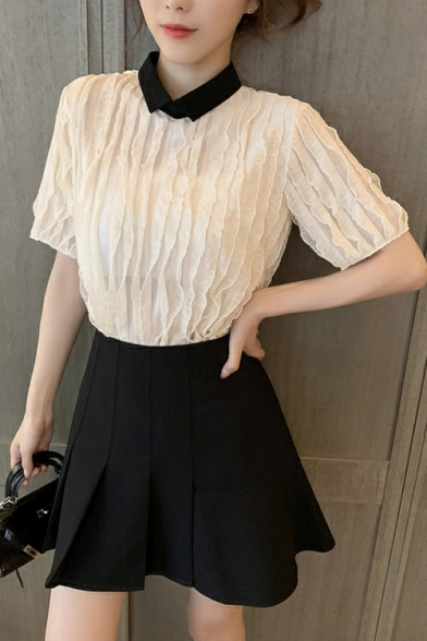Womens Summer Fashion Designer Contrast Collar Short Sleeve Plain Pleated Blouse
