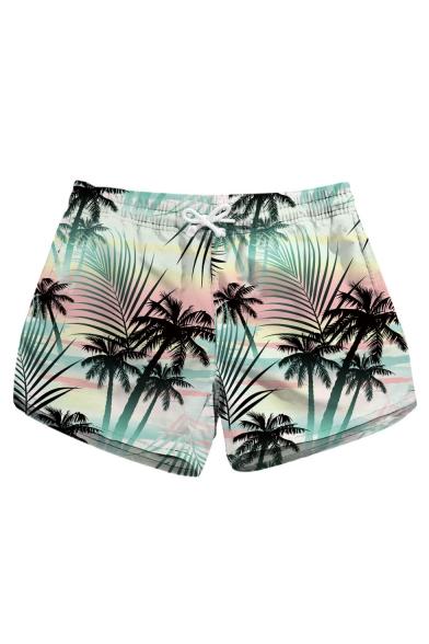 Womens Summer Fashion Tropical Printed Quick Drying Swim Shorts Beach Shorts