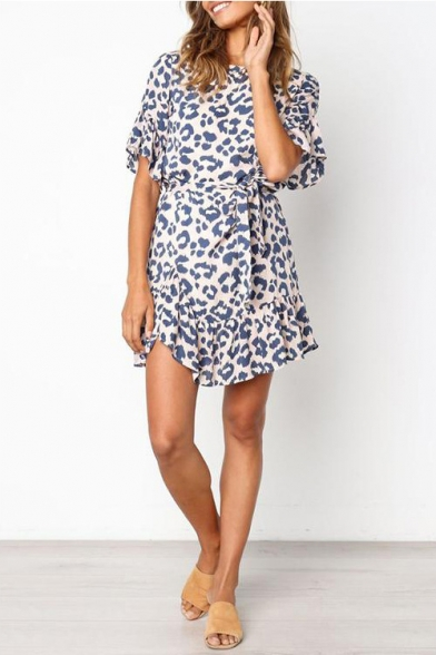 Womens Summer Stylish Leopard Printed Round Neck Short Sleeve Bow-Tied Waist Mini Blue A-Line Dress