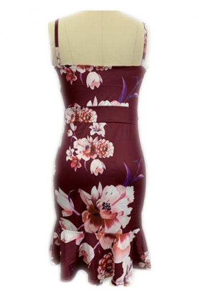 Womens Trendy Fancy Floral Printed V-Neck Cutout Waist Midi Bodycon Ruffled Slip Dress