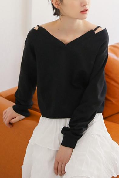 Womens Unique Fancy Cutout V-Neck Long Sleeve Plain Black Sweatshirt