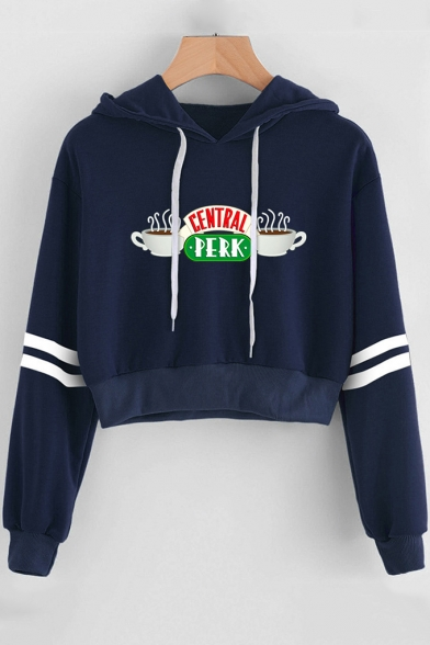 CENTRAL PERK Coffee Cup Print Stripe Long Sleeve Crop Hoodie