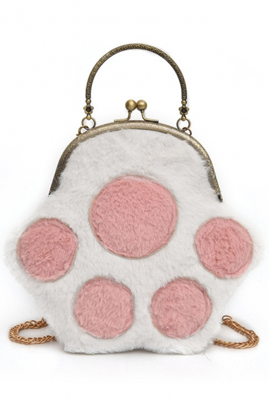 Cute Cartoon Plush Cat Claw Pattern Top Handle Crossbody Clutch Bag with Chain Strap 24*21*2 CM