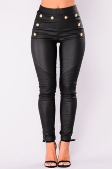 Elegant Black Elastic Waist Button Embellished Ankle Length PU Pants