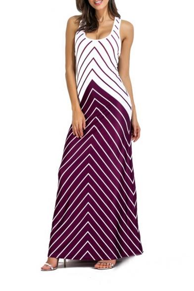 Fancy Zigzag Striped Printed Scoop Neck Sleeveless Maxi Tank Dress for Women