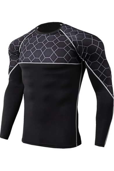 Fashion Check Printed Mens Round Neck Long Sleeve Quick Dry Training Fitness Tight T-Shirt