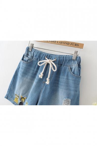 Girls Cartoon Cat Embroidery Drawstring Waist Loose Fit Light Blue Denim Shorts