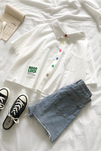 Girls Preppy Style Fancy Letter GOOD LUCK Patched Colorful Button Front Short Sleeve Crop Shirt
