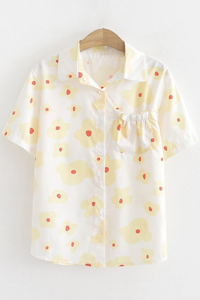 Girls Unique Sweet Floral Print Short Sleeve Button Down Shirt