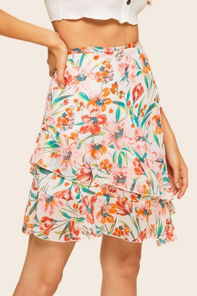 Holiday Chic Floral Printed Mini A-Line Layered Ruffle Skirt