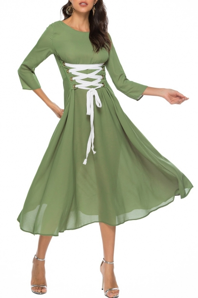 Hot Fashion Womens 3/4 Sleeves Emerald Eyelet Lace Up Gather Waist Midi Flowy Dress