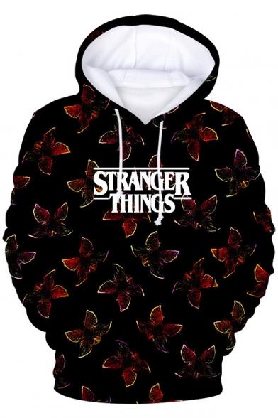 Hot Popular Stranger Things Demogorgon Printed Long Sleeve Sport Loose Black Hoodie