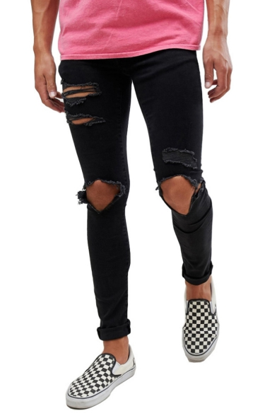 Men's Hip Hop Style Knee Cut Black Casual Ripped Skinny Jeans with Holes