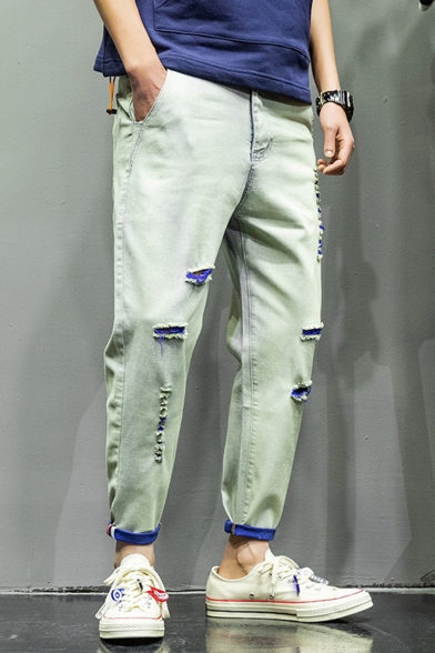 Men's New Fashion Colorblock Rolled Cuffs Relaxed Fit Ripped Tapered Jeans