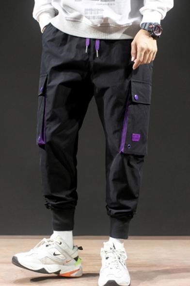 Men's Street Trendy Simple Plain Large Flap Pocket Side Drawstring Waist Casual Loose Sports Cargo Pants