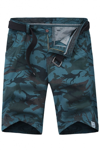 Men's Summer Fashion Popular Camouflage Print Casual Cotton Zip-fly Cargo Shorts