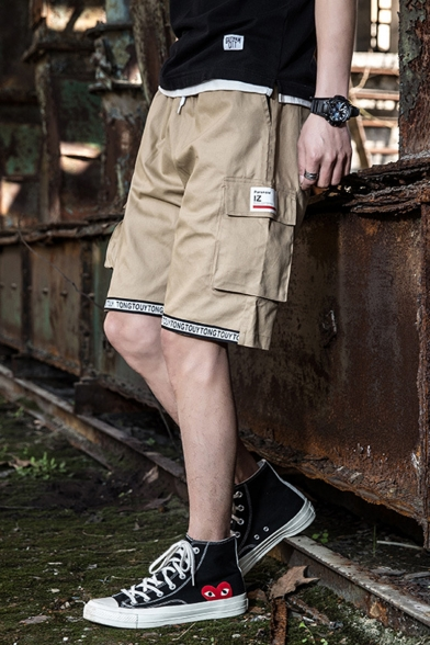 Men's Summer Trendy Letter Printed Tape Patched Drawstring Waist Casual Loose Cargo Shorts