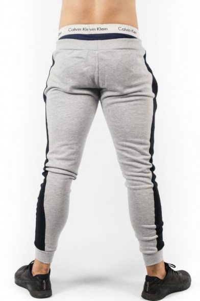 Men's Trendy Logo Printed Colorblock Patched Side Drawstring Waist Casual Training Pants Pencil Pants